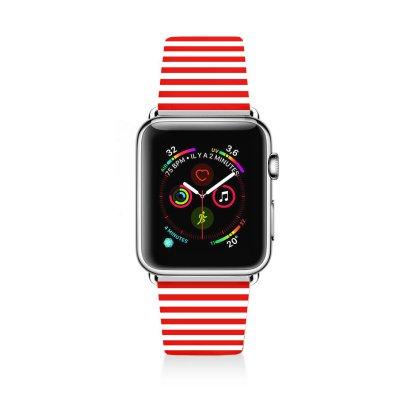 Bracelet Apple Watch en cuir 42-44mm Marinière Rouge La Coque Francaise
