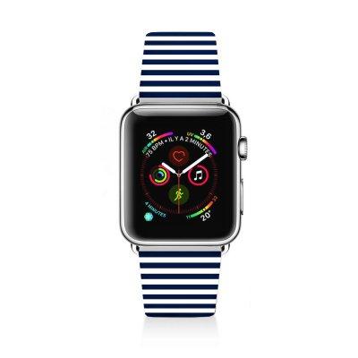 Bracelet Apple Watch en cuir 42-44mm Marinière Bleue La Coque Francaise