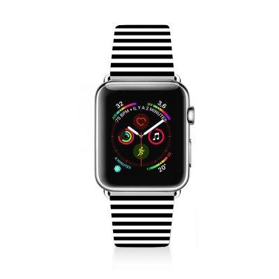 Bracelet Apple Watch 42-44mm en cuir Marinière Noire La Coque Francaise
