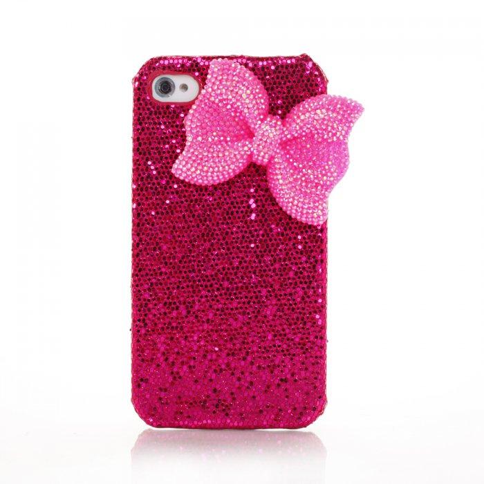 Coque fuschia à paillettes et noeud rose pour iPhone 4 / 4S