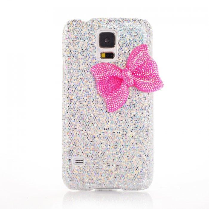 Coque argentée à paillettes et noeud rose pour Samsung Galaxy S5 G900