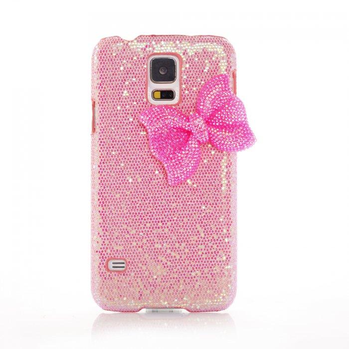 Coque rose pâle à paillettes et noeud rose pour Samsung Galaxy S5 G900