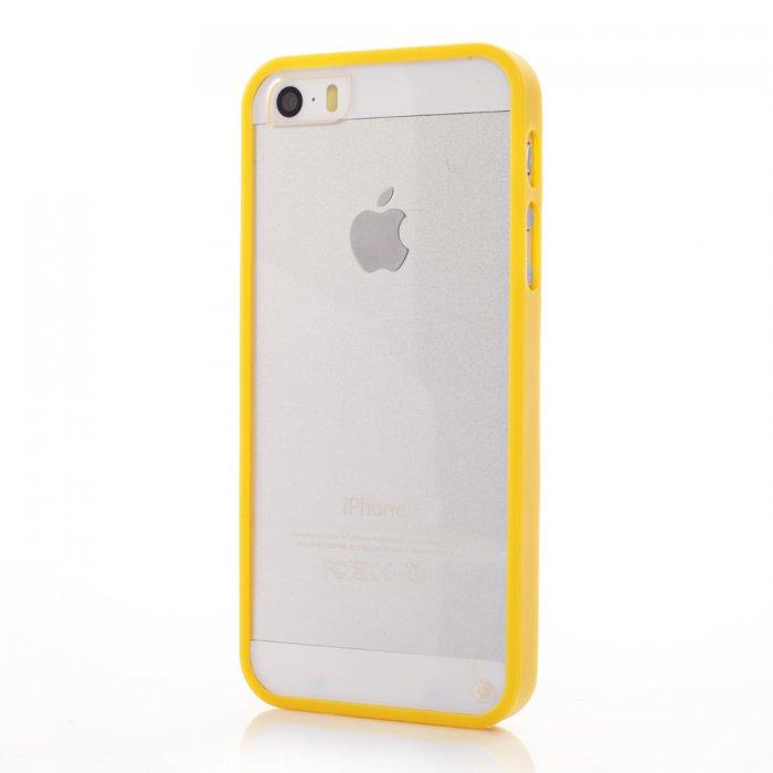 coque bumper jaune et vitre arriere transparente pour iphone 5 5s