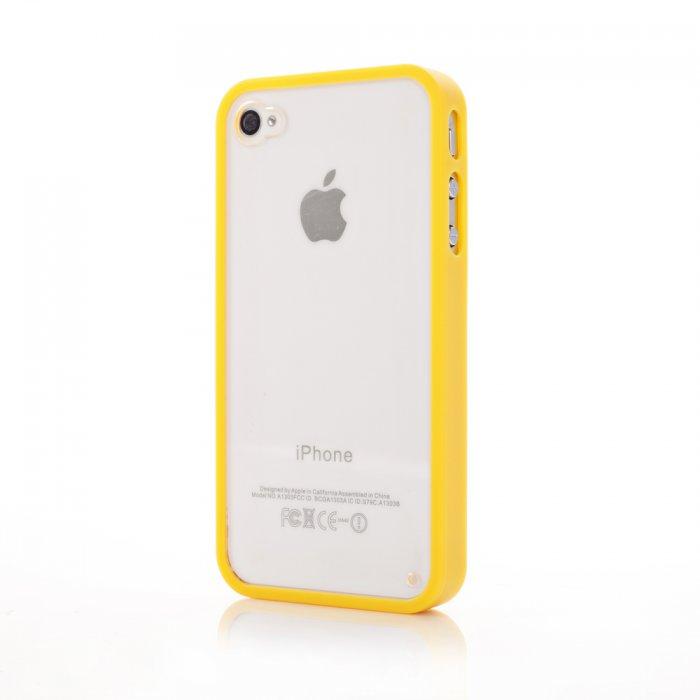 Coque bumper jaune et vitre arrière transparente pour iPhone 4 / 4S