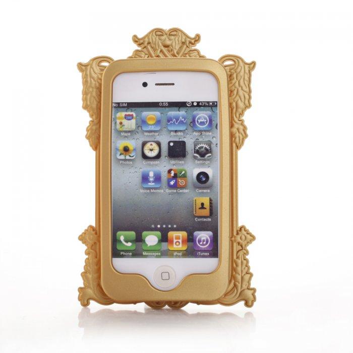Coque silicone dorée cadre miroir pour iPhone 4 / 4S