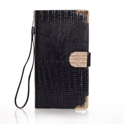 Etui livre croco noir à strass pour Samsung Galaxy Note 3 N9000