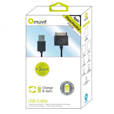 MUVIT CABLE USB / APPLE 30 PIN 3M SYNC ET CHARGE 2A