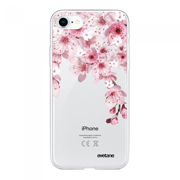 Coque Souple iPhone 7 iPhone 8 souple transparente Cerisier Motif Ecriture Tendance Evetane