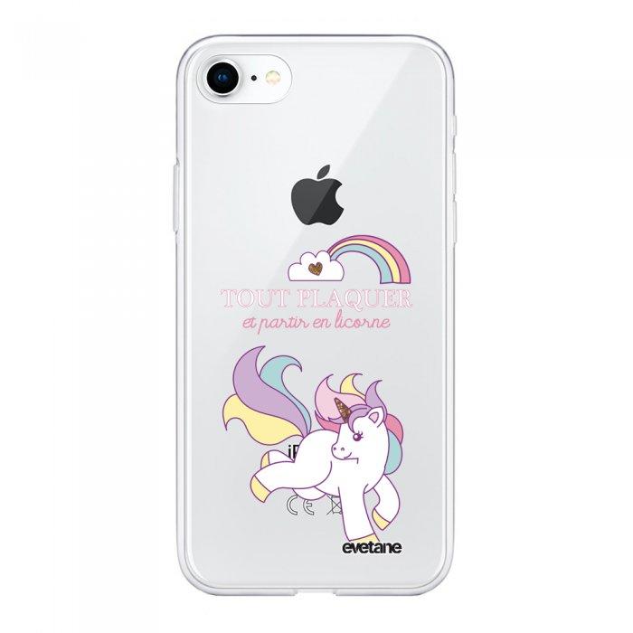 Coque 360 iPhone 7 iPhone 8 360 intégrale transparente Partir En Licorne Ecriture Tendance Design Evetane