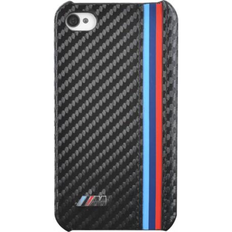bmw coque rigide noire finition carbone pour iphone 4 4s