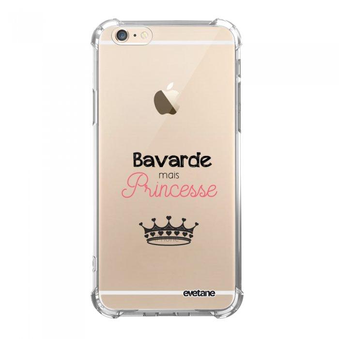 Coque iPhone 6/6S anti-choc souple angles renforcés transparente Bavarde mais princesse Evetane. - Coquediscount
