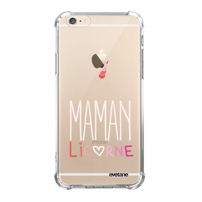 Coque iPhone 6/6S anti-choc souple avec angles renforcés transparente Maman licorne Tendance Evetane