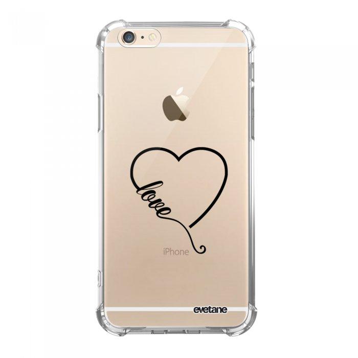 Coque iPhone 6 Plus / 6S Plus anti-choc souple angles renforcés transparente Coeur love Evetane. - Coquediscount
