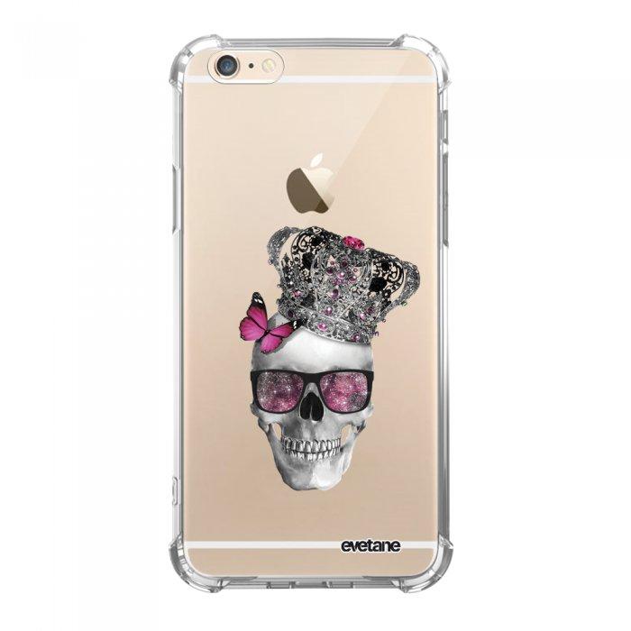 Coque iPhone 6 Plus / 6S Plus anti-choc souple avec angles renforcés transparente Tête de mort couronn Tendance Evetane...