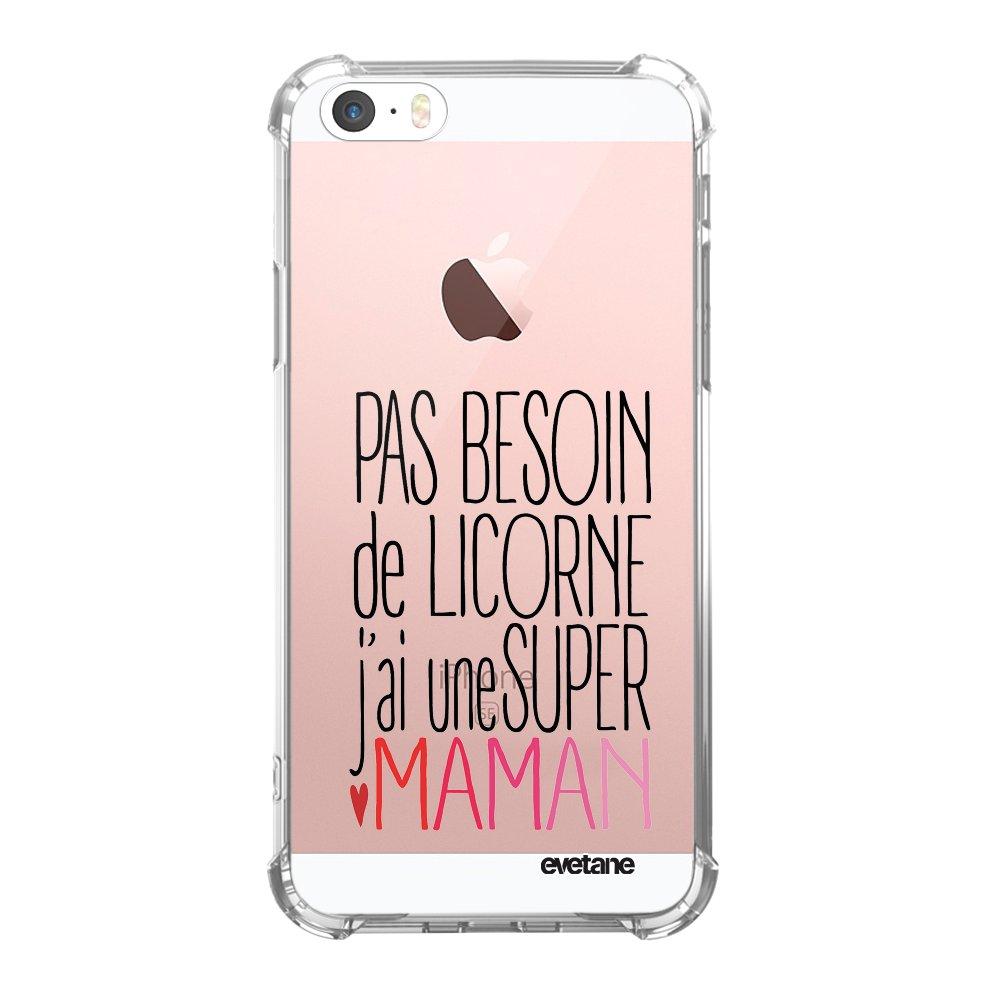 coque iphone 5 5s se anti choc souple avec angles renforces transparente licorne super maman tendance evetane