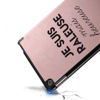 Etui Huawei MediaPad T5 10.1 pouces Raleuse Mais Heureuse Ecriture Motif Tendance