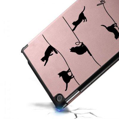 Etui Huawei MediaPad T5 10.1 pouces Chat Lignes Ecriture Motif Tendance