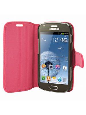 Mocca étui folio vernis rose fluo pour Samsung Galaxy Trend S7560 / S Duos S7562
