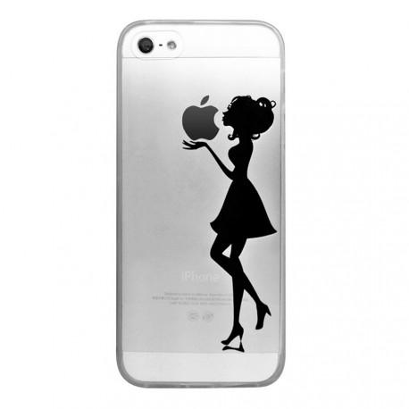 Coque iPhone 5/5S/SE rigide transparente Silhouette Femme Dessin Evetane - Coquediscount