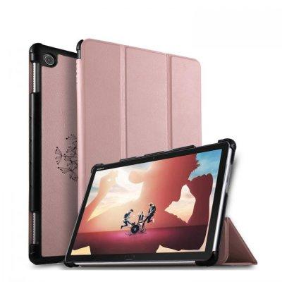 Etui Huawei MediaPad M5 10.8 pouces effet cuir grainé rose gold Pissenlit Ecriture Motif Tendance