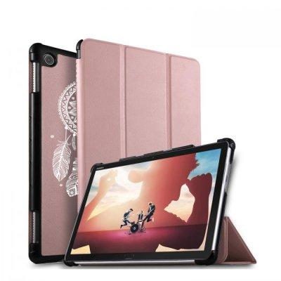 Etui Huawei MediaPad M5 10.8 pouces effet cuir grainé rose gold Attrape reve blanc Ecriture Motif Tendance