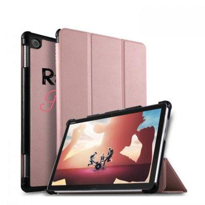 Etui Huawei MediaPad M5 10.8 pouces effet cuir grainé rose gold Raleuse mais princesse Ecriture Motif Tendance