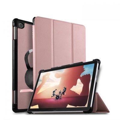 Etui Huawei MediaPad M5 10.8 pouces effet cuir grainé rose gold Chuis pas du matin Ecriture Motif Tendance