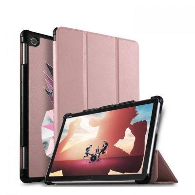 Etui Huawei MediaPad M5 10.8 pouces effet cuir grainé rose gold Ananas geometrique marbre Ecriture Motif Tendance