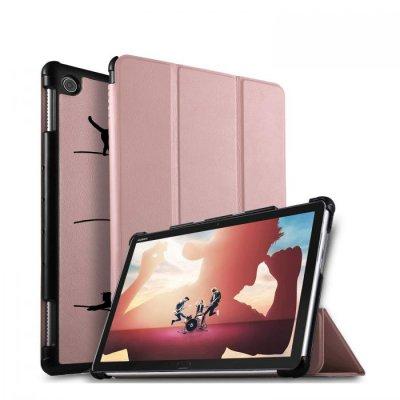 Etui Huawei MediaPad M5 10.8 pouces effet cuir grainé rose gold Chat Lignes Ecriture Motif Tendance
