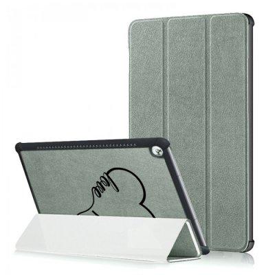 Etui Huawei MediaPad M5 10.8 pouces effet cuir grainé gris Coeur love Ecriture Motif Tendance