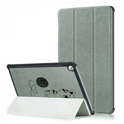 Etui Huawei MediaPad M5 10.8 pouces effet cuir grainé gris Chat et Laine Ecriture Motif Tendance