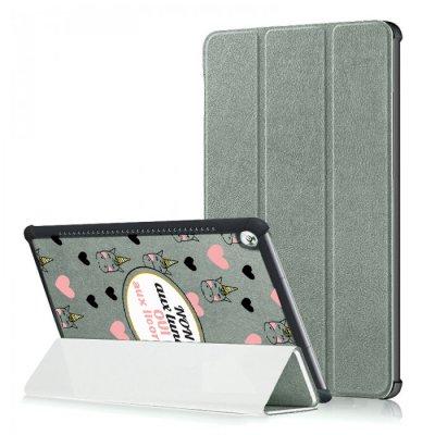 Etui Huawei MediaPad M5 10.8 pouces effet cuir grainé gris Oui aux licornes Ecriture Motif Tendance
