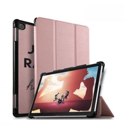 Etui Huawei MediaPad M5 10.8 pouces effet cuir grainé rose gold Raleuse Mais Heureuse Ecriture Motif Tendance