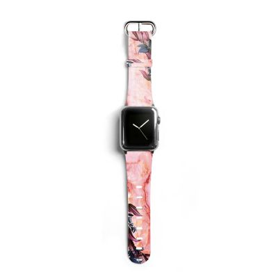 Bracelet Apple Watch en cuir 38-40mm Marbre Fleurs Evetane
