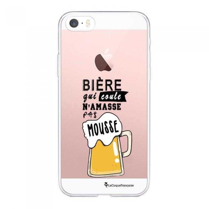 Coque iPhone 5/5S/SE souple transparente Bière qui Coule Motif Ecriture Tendance La Coque Francaise - Coquediscount