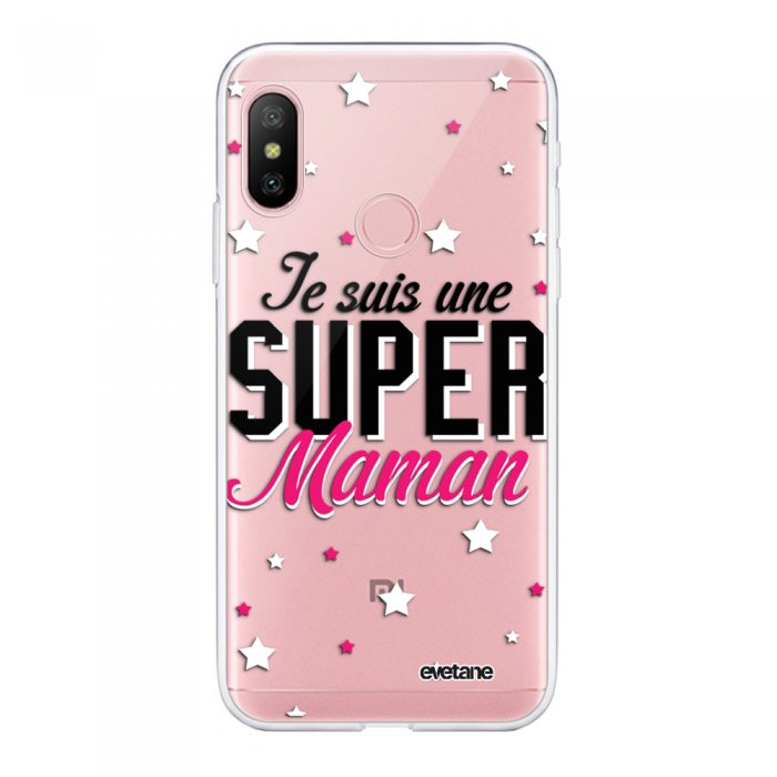 Coque Souple Xiaomi Redmi Note 6 Pro souple transparente Super Maman Motif Ecriture Tendance Evetane