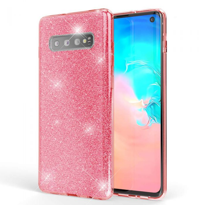 Coque Galaxy S10 Pailletes souple Silicone Rose Gold