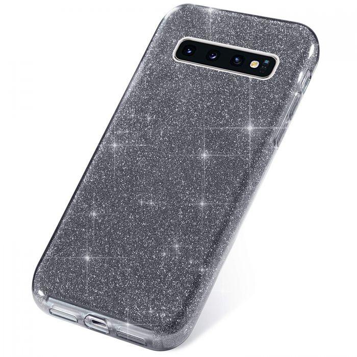 Coque Galaxy S10 Pailletes souple Silicone Gris Foncé