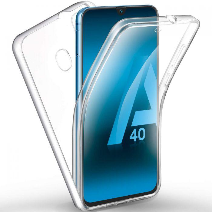 Coque Galaxy A40 360° intégrale protection avant arrière silicone transparente