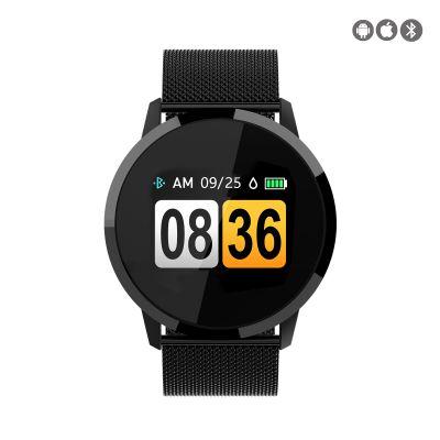 Montre connectée avec suivi d'activités compatible iOs et Android - avec bracelet en metal noir