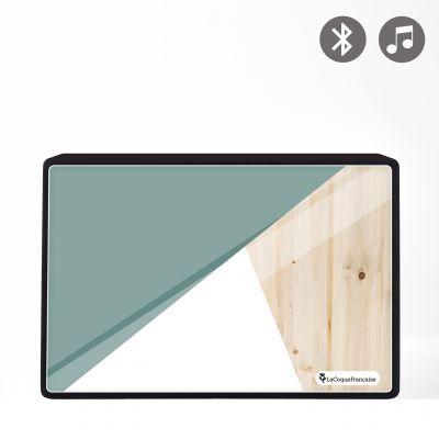 Enceinte bluetooth noire avec verre trempé Trio bois vert Evetane