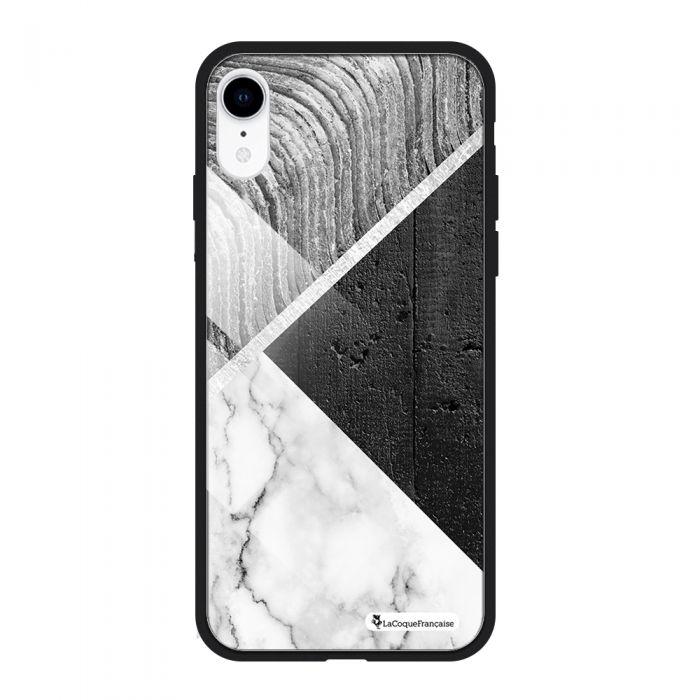 Coque en verre trempé iPhone Xr verre trempé noir Trio béton brut Ecriture Tendance et Design La Coque Francaise
