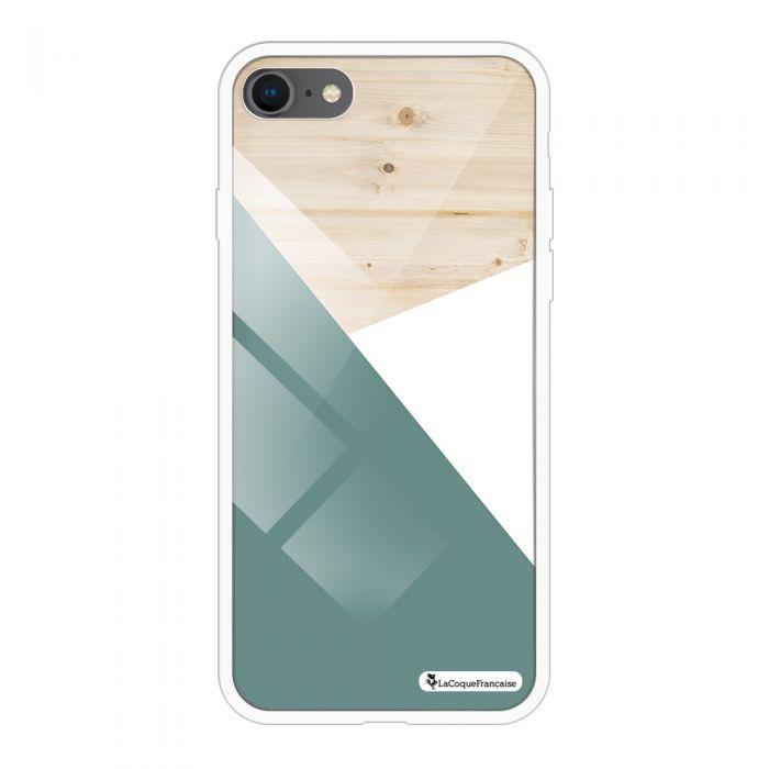 Coque en verre trempé iPhone 7 iPhone 8 verre trempé noir Trio bois vert Ecriture Tendance et Design La Coque Francaise