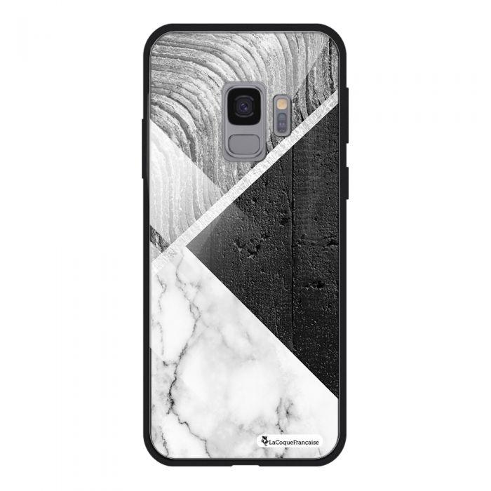 Coque en verre trempé Samsung Galaxy S9 verre trempé noir Trio béton brut Ecriture Tendance et Design La Coque Francaise