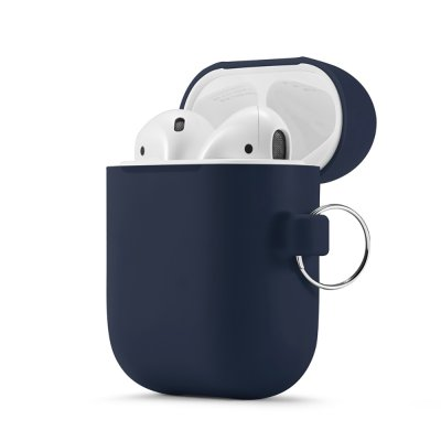 Housse de protection Airpods Silicone Liquide Bleu Foncé