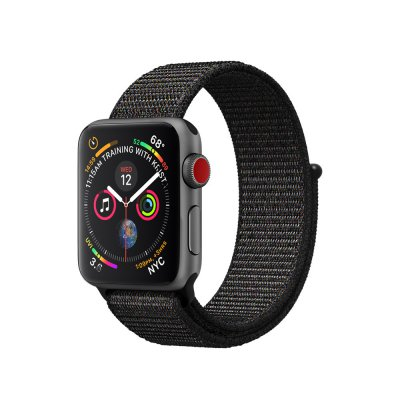 Bracelet 42-44 mm compatible avec Apple Watch Nylon fermeture scratch Noir