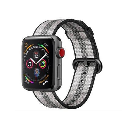 Bracelet 42-44 mm compatible avec Apple Watch Nylon à rayures Gris