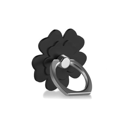 Support anneau rotatif 360° pour Smartphones & Tablettes Fleur Noir