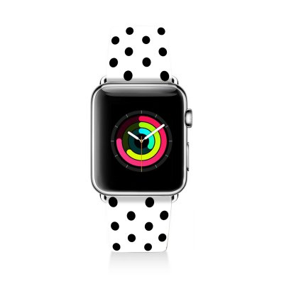 Bracelet Apple Watch en cuir 38-40mm Pois Noir Evetane
