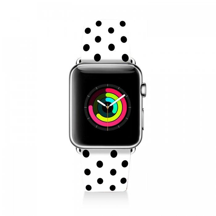 Bracelet Apple Watch en cuir 38-40mm Pois Noir Evetane